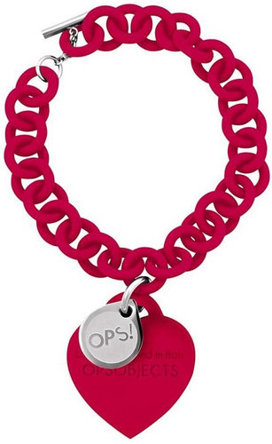 OPS!OBJECTS Bracelet red with stainless steel OPSBR-08-1800