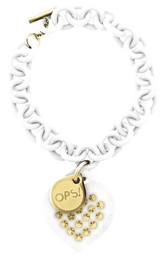 OPS!OBJECTS Bracelet white with studs stainless steel yellowgold plated OPSBR-71-2400
