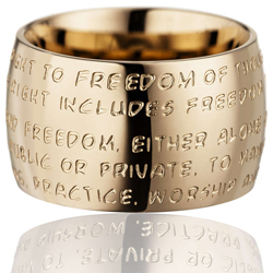 GILARDY HUMAN RIGHTS Ring R1 curved stainless steel rosé/champagne