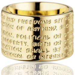 GILARDY HUMAN RIGHTS Ring R2 flat stainless steel gold