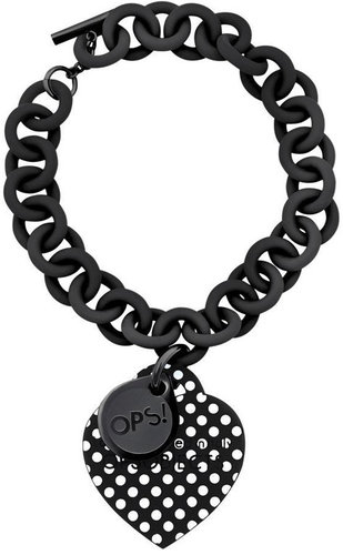 OPS!OBJECTS Bracelet Black with white points stainless steel OPSBR-30-1800
