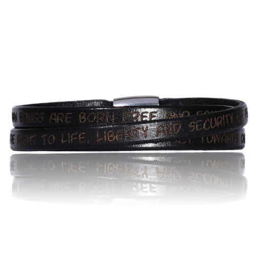 GILARDY HUMAN RIGHTS Leather Bracelet BR1 Black