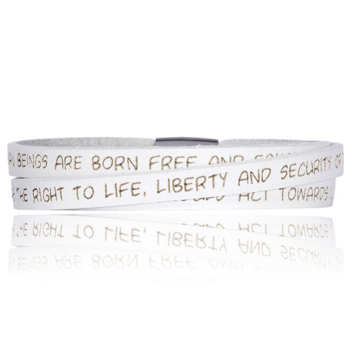 GILARDY HUMAN RIGHTS Leatherbracelet BR1 White