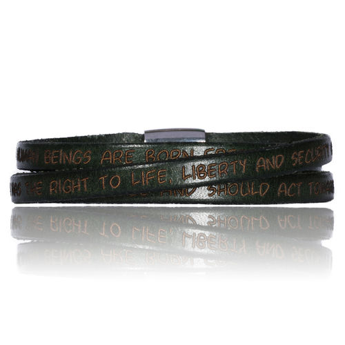 GILARDY HUMAN RIGHTS Leatherbracelet BR1 Military Green