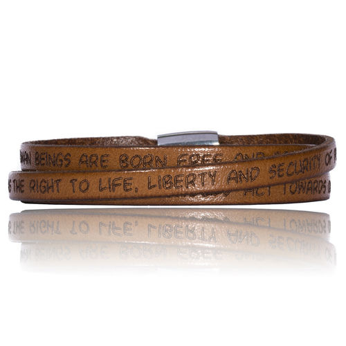 GILARDY HUMAN RIGHTS Leatherbracelet BR1 Light Brown