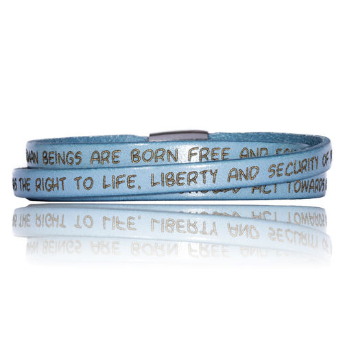 GILARDY HUMAN RIGHTS Leatherbracelet BR1 Baby Blue