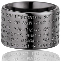 GILARDY HUMAN RIGHTS Ring R2 flat stainless steel dark grey