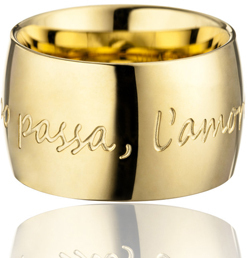 "GILARDY AMORE PER SEMPRE Ring yellowgold curved stainless steel I ""Il tempo passa, l'amore resta"""