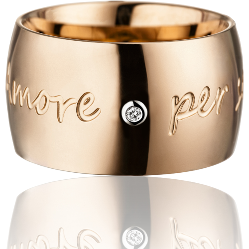 "GILARDY AMORE PER SEMPRE Ring champagne curved stainless steel diamond I ""Amore per sempre"""